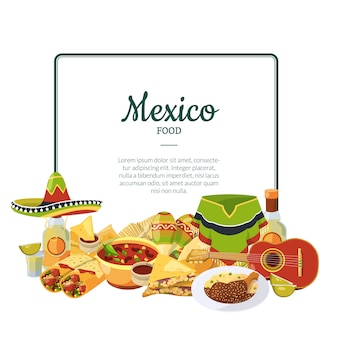 Vector cartoon mexican food below frame