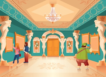 Vector cartoon museum exhibition with pictures and visitors in royal ballroom with atlas columns. Ar