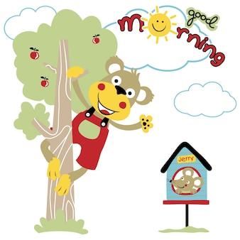 小さな家にマウスを置いた木の葉のかわいい猿のベクトル漫画