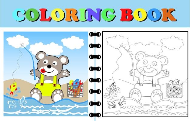 코알라의 벡터 만화는 해변에서 물고기를 낚고 있습니다. 색칠하기 책이나 동물 만화 페이지