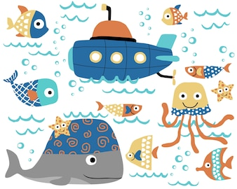 Vector cartoon of marine animals with submarine