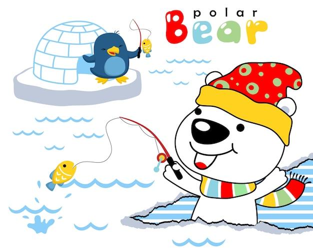 펭귄 낚시와 북극곰의 벡터 만화