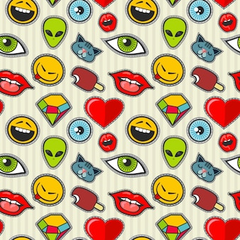 Vector cartoon patch seamless pattern