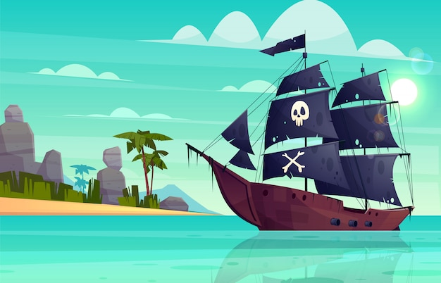Vector cartoon pirate ship on water, sand beach of the bay.
