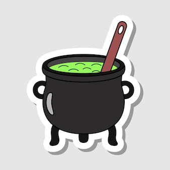 Vector cartoon pot with the spoon sticker isolated magic kettle with potion