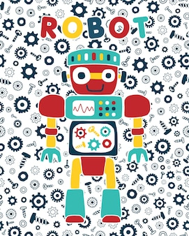 Vector cartoon of robot on bolt and nuts background