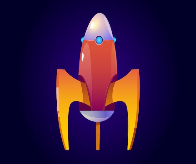 Vector cartoon rocket, orange spaceship