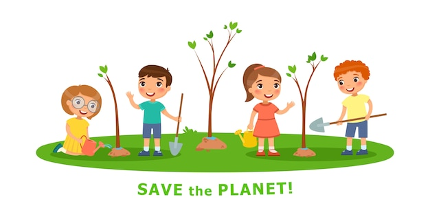 Vector cartoon scenes on environmental issues