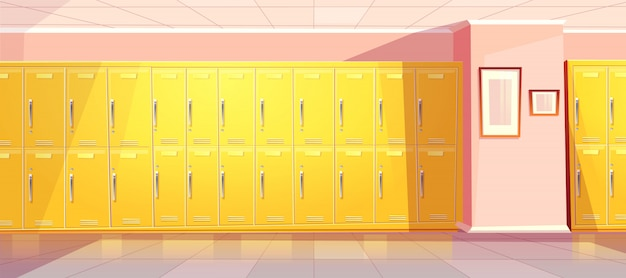 Vector cartoon school or college corridor with bright yellow lockers for students, pupils. universit