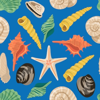 벡터 만화 바다 조개 패턴 또는 배경 일러스트 레이션