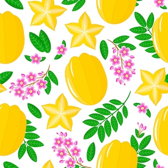 Vector cartoon seamless pattern with averrhoa carambola or star fruit exotic fruits, flowers and leafs