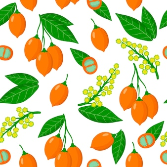 Vector cartoon seamless pattern with bunchosia argentea or silver peanut butter fruit exotic fruits, flowers and leafs