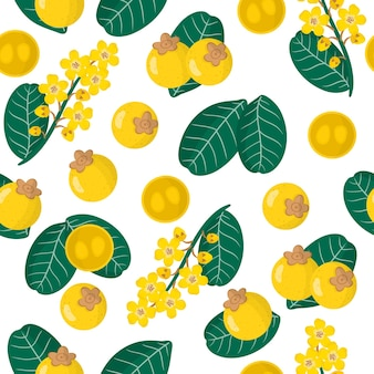 Vector cartoon seamless pattern with byrsonima crassifolia or nance exotic fruits, flowers and leafs
