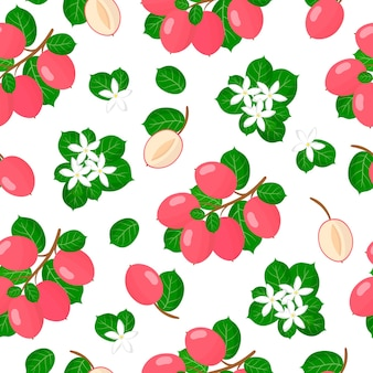 Vector cartoon seamless pattern with carissa carandas or carunda exotic fruits, flowers and leafs