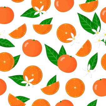Vector cartoon seamless pattern with citrus clementina or clementine exotic fruits, flowers and leafs