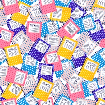 Vector cartoon seamless pattern with colorful notebooks for web, print, cloth texture or wallpaper.