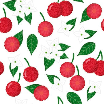 Vector cartoon seamless pattern with cornus capitata or strawberry tree exotic fruits, flowers and leafs