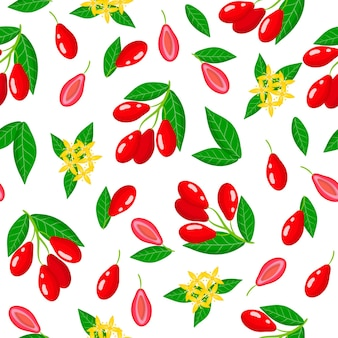 Vector cartoon seamless pattern with cornus mas or dogwood exotic fruits, flowers and leafs