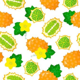 Cucumismetuliferusまたはキワノエキゾチックな果物、花、白い背景の葉とベクトル漫画のシームレスなパターン