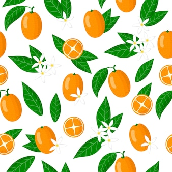 Vector cartoon seamless pattern with fortunella or kumquat exotic fruits, flowers and leafs