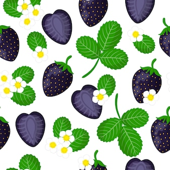Vector cartoon seamless pattern with fragaria ananassa or black strawberries exotic fruits, flowers and leafs