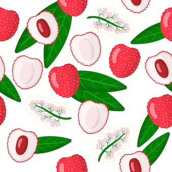 Vector cartoon seamless pattern with litchi chinensis or lychee chinese exotic fruits, flowers and leafs
