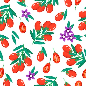 Vector cartoon seamless pattern with lycium barbarum or goji exotic fruits, flowers and leafs