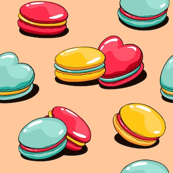 Vector cartoon seamless pattern with macaroons