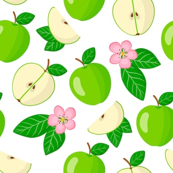 Vector cartoon seamless pattern with malus domestica or green apple exotic fruits, flowers and leafs