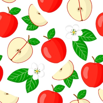 Vector cartoon seamless pattern with malus domestica or red apple exotic fruits, flowers and leafs