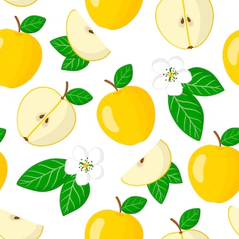 Vector cartoon seamless pattern with malus domestica or yellow apple exotic fruits, flowers and leafs