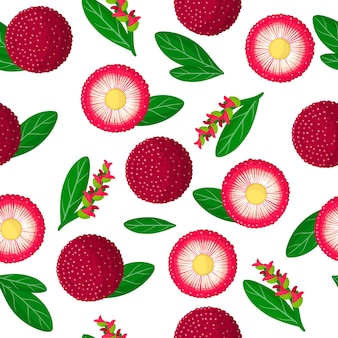 Vector cartoon seamless pattern with myrica rubra or yangmei exotic fruits, flowers and leafs