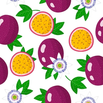 Vector cartoon seamless pattern with passiflora edulis or passion fruit exotic fruits, flowers and leafs