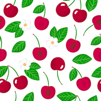 Vector cartoon seamless pattern with prunus avium or cherries exotic fruits, flowers and leafs
