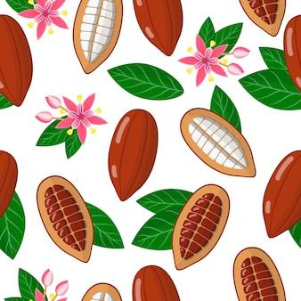 白い背景の上のテオブロマカカオまたはカカオの木のエキゾチックな果物、花、葉とベクトル漫画のシームレスなパターン