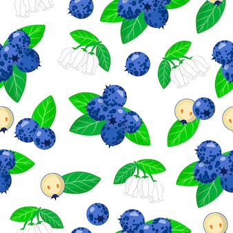 Vector cartoon seamless pattern with vaccinium myrtillus or blueberries exotic fruits, flowers and leafs