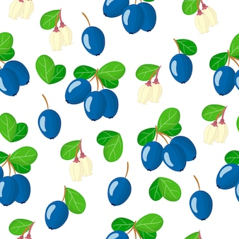 Vector cartoon seamless pattern with vaccinium uliginosum or bog bilberry exotic fruits, flowers and leafs