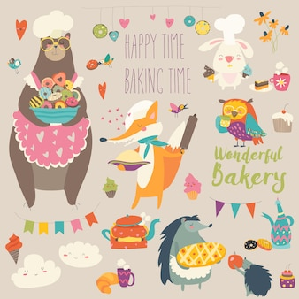 Vector cartoon set animals baking the sweets
