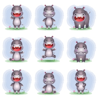 Vector cartoon set of cute hippo