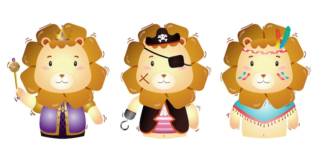 Vector cartoon set of cute king, pirates, and apache lion