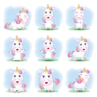 Vector cartoon set of cute unicorn