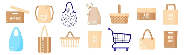 Vector cartoon set of empty eco paper grocery bags, baskets, cart, box, string and turtle bag for healthy food isolated on white background. caring for the environment concept. eco-food shopping.