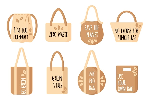 Vector cartoon set of empty textile reusable grocery bags with eco quotes for healthy food isolated on white background
