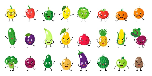 Vector cartoon set of fruits and vegetables characters with different poses and emotions isolated on white background
