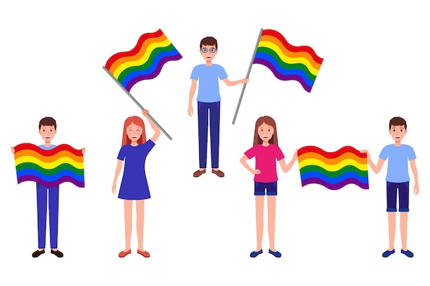 Vector cartoon set of illustrations with people holding rainbow flags of the lgbt community. pride parade concept