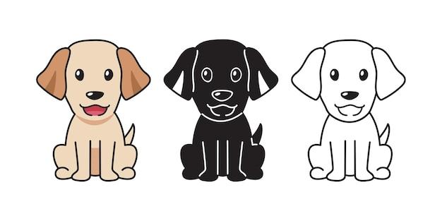 Vector cartoon set of labrador retriever dog for design