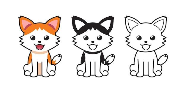 デザインのためのキャラクター幸せな猫のベクトル漫画セット。