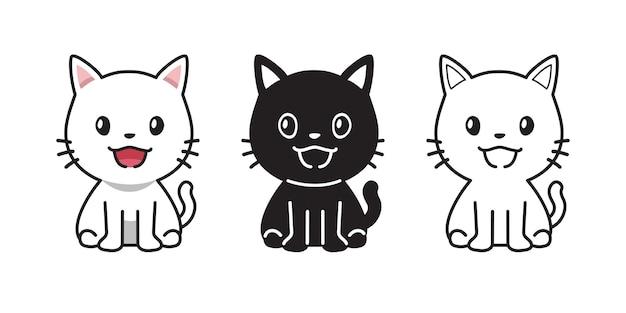 デザインのかわいい猫のベクトル漫画セット。