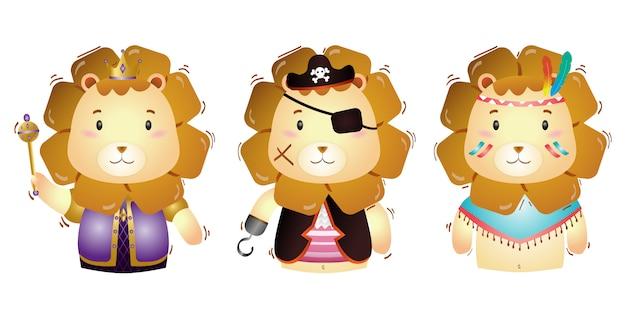Векторный мультяшный набор милый король, пираты и апач лев