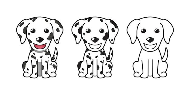 デザインのダルメシアン犬のベクトル漫画セット。